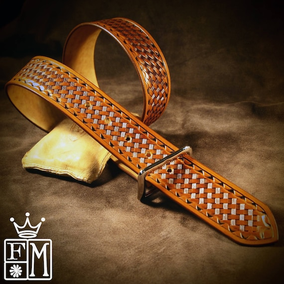 "Tan leather belt : Brown Tooled basket weave with waved border. Polished nickel buckle 1-3/4"" wide. Handmade in USA!"