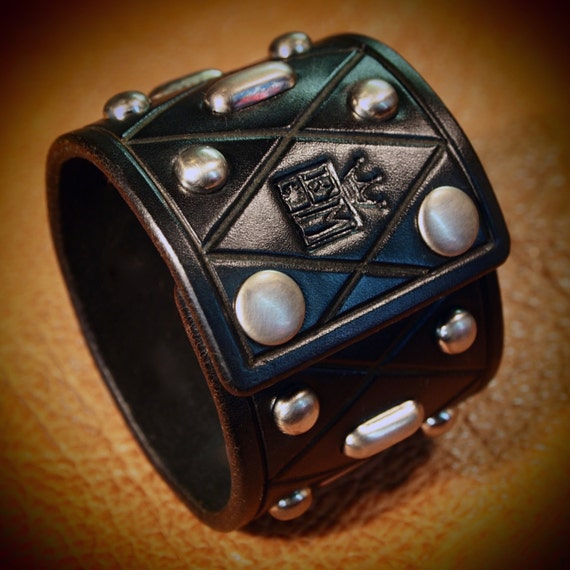 Black Leather cuff : Studded Bracelet with Diamond pattern. Custom Made for YOU in New York by Freddie Matara