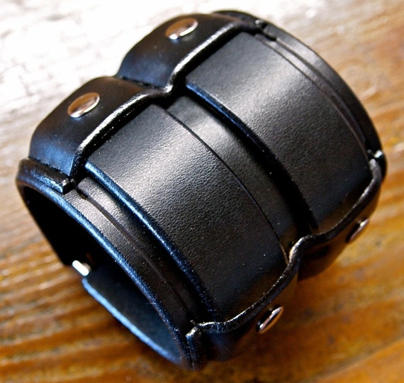 Leather cuff Bracelet Black wide Rocker Armband Custom made for YOU in USA by Freddie Matara