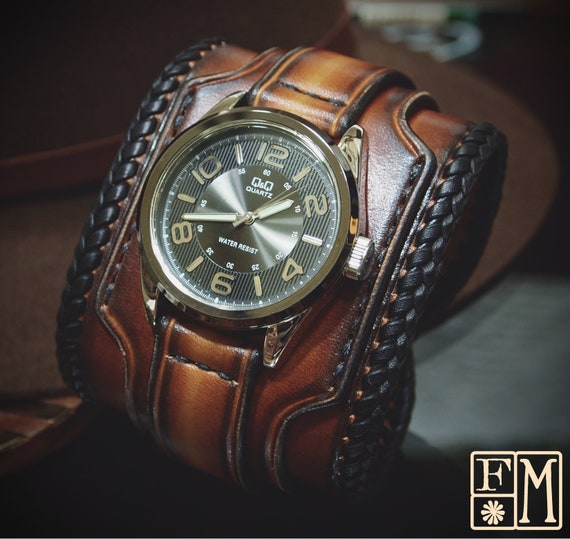Brown Leather cuff watch : Tobacco sunburst with braided lace edge. Deep rich style!