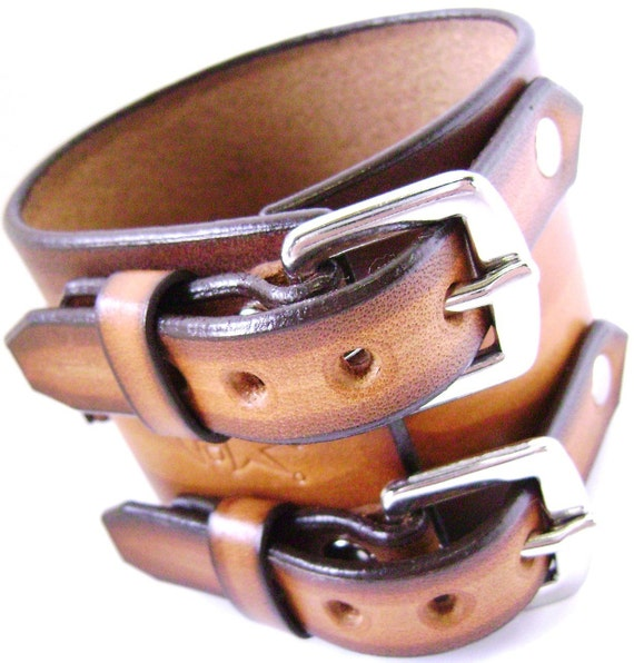 Leather watchband cuff Streaked fade Pirate style cuff bracelet hand made for YOU in USA by Freddie Matara