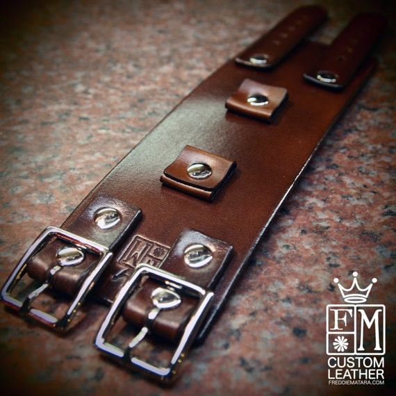 Brown Leather cuff Bracelet : Vintage Johnny Depp style wristband/watchband Handmade and custom sized for your wrist!