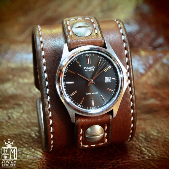 Leather cuff Watch -Vintage brown bridle leather handstitched watch band with Casio watch custom made for YOU in NY USA