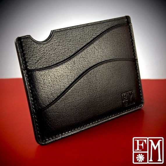 Black Minimalist card wallet case : Front pocket wallet EDC vegetable tanned buffalo calf. Made in New York!