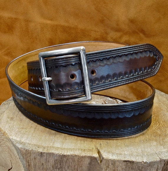 """Brown leather belt Tooled Western border Distressed buckle 1-3/4"""" wide handmade for YOU in USA by Freddie Matara"""