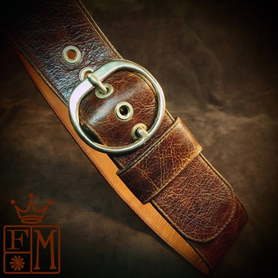 Brown leather Wide distressed ladies Hip belt Boho Bohemian luxury womens belt guitar strap made for You in USA by Freddie Matara