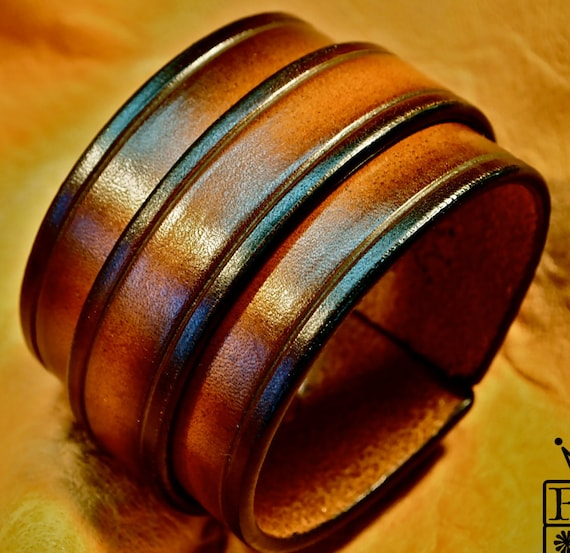 Leather cuff bracelet Sunburst vintage finish wristband Handmade for YOU in USA by Freddie Matara