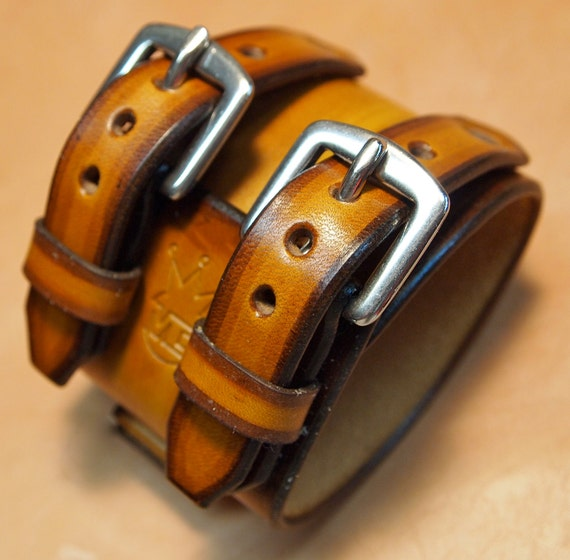 Johnny Depp Leather cuff wristband vintage style watchband Best quality Made in USA for YOU by Freddie Matara
