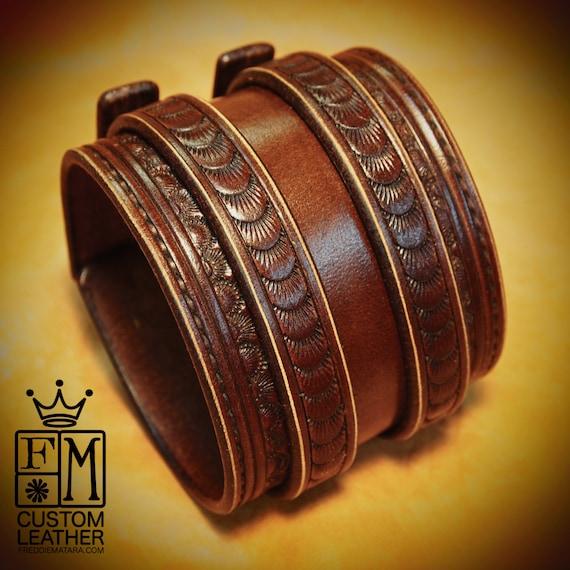 Leather Wrist Cuff Brown Traditional American Cowboy Rockstar Bracelet made for YOU in USA by Freddie Matara