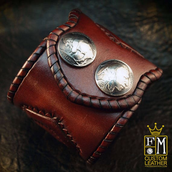 Leather cuff wristband Native Western style hand tooled with kangaroo lace and Buffalo nickels handmade for YOU in USA by Freddie Matara