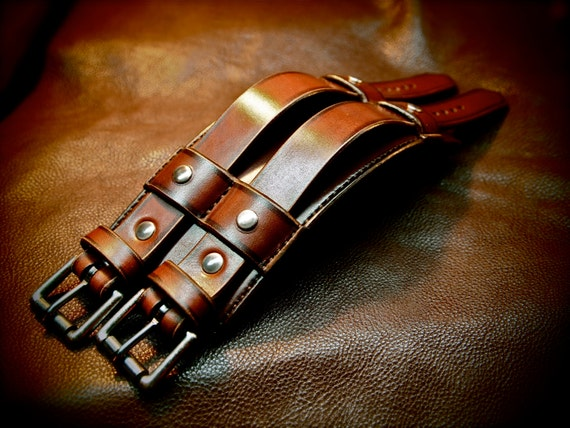 "Leather cuff Bracelet Brown leather wristband 3"" wide Custom made for YOU in USA by Freddie Matara"