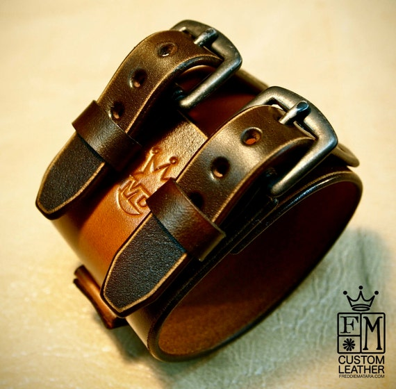 Brown Leather Cuff : 2-tone Watchband bracelet. Depp style with Distressed hand aged hardware!