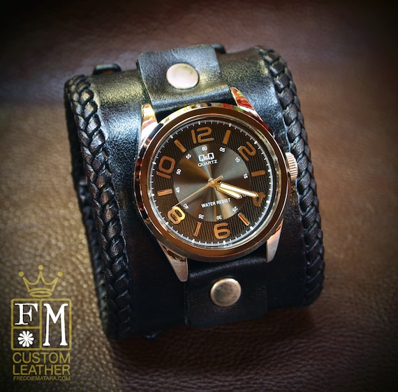 Leather cuff watch Black vintage style wide bracelet Best quality Made for YOU in USA by Freddie Matara!