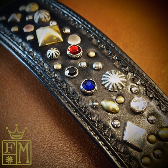 Black Leather Cuff bracelet : Jeweled and studded, Stamped and lined! Hand made in New York with Spirit and Soul!