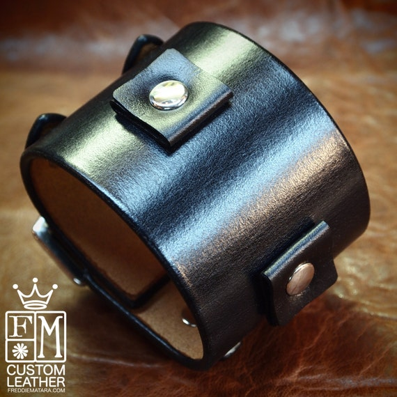 Leather watchband cuff Black Pirate style cuff bracelet hand made for YOU in USA by Freddie Matara