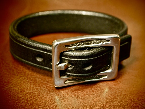 Leather bracelet cuff Lean Black wristband Sexy made in for YOU in Brooklyn USA by Freddie Matara!