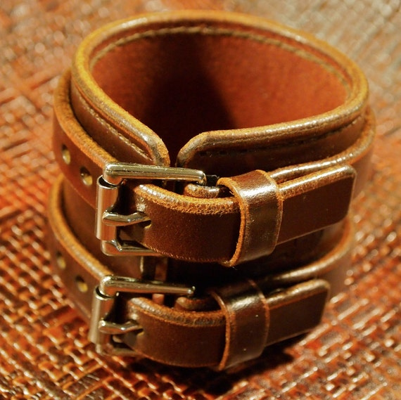 Brown Leather Wristband Double strap Handstitched Luxury Cuff Bracelet made for YOU in New York by Freddie Matara