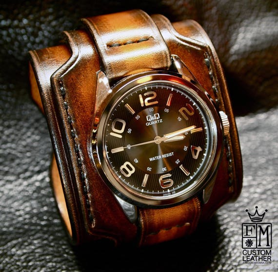 Leather cuff watch : Tobacco sunburst Wide and layered Brown watch band. Rich fine, aged style!
