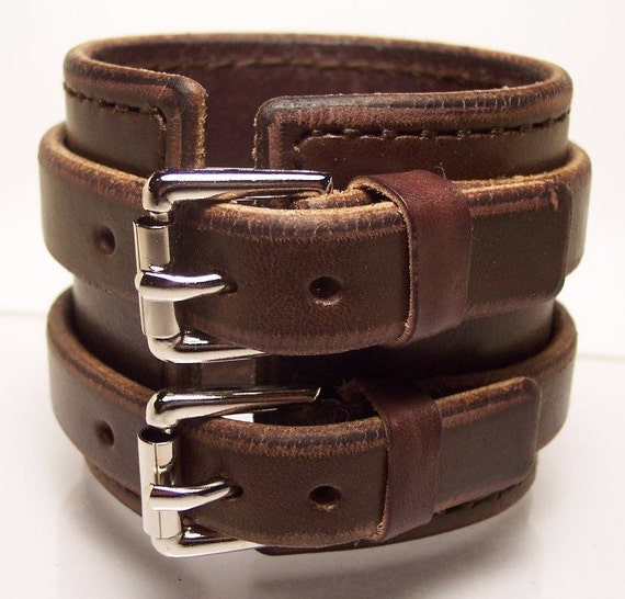 2.5 inch Brown Leather Hand stitched Cuff Bracelet made for YOU in USA by Freddie Matara