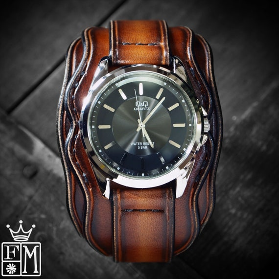 Leather cuff watch: Brown Western sunburst, Unique design with Wave edge and S.S. Buckle!