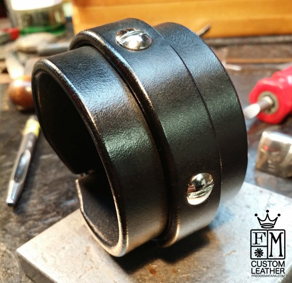 Leather cuff bracelet Black bridle leather wristband Hand worked and made for You in Brooklyn USA by Freddie Matara