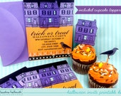 halloween party printable invite with cupcake toppers - editable text you can customize yourself PDF - INSTANT download