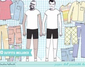 MAN paper doll set - easy for you to customize with your own photos - printable PDF - INSTANT download