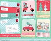 christmas card SET OF 4 designs printable kit - holiday greeting card printable pack  - instant download PDF