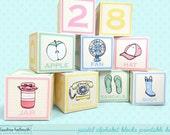 pastel alphabet blocks mini cupcake favor boxes - baby shower, back to school, teacher appreciation PDF kit - INSTANT download
