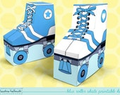 blue roller skates - favor boxes fit gift cards, candy, cookies and more party printable PDF kit - INSTANT download