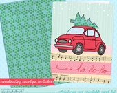 christmas card printable kit -  red retro car with tree holiday greeting card printable INSTANT download PDF
