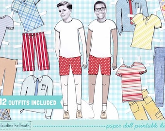 PRE-TEEN BOY paper doll set - easy for you to customize with your own photos - printable pdf - instant download