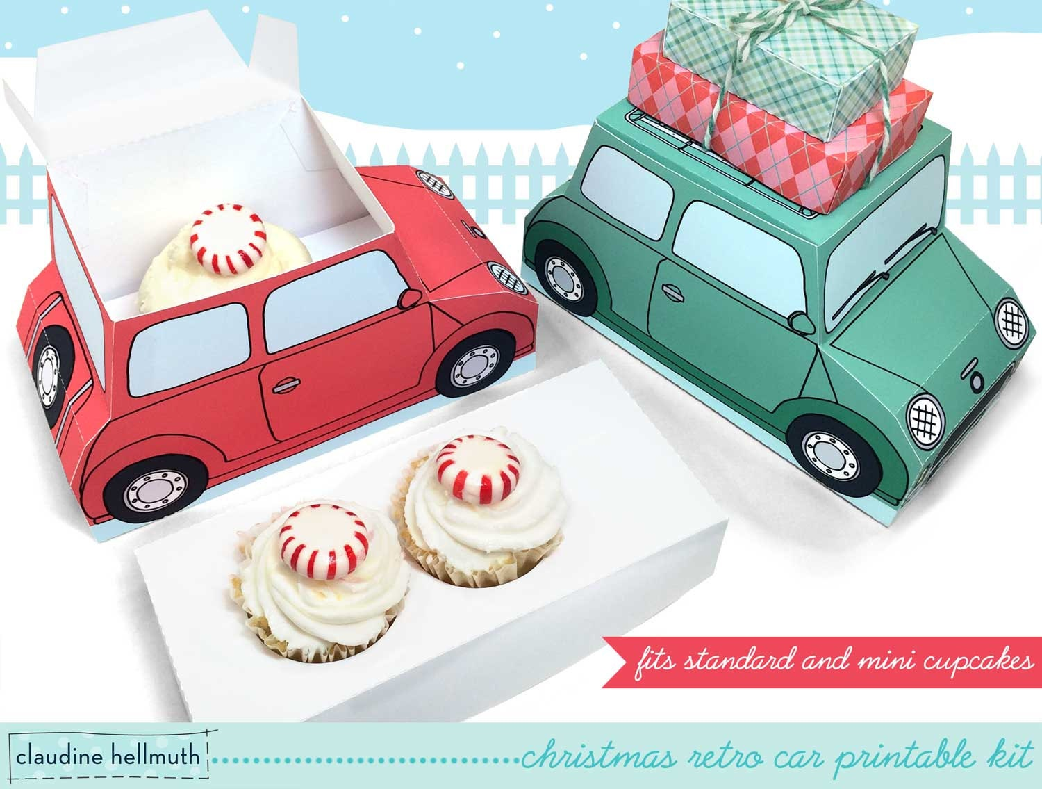 christmas retro cars - cupcake boxes printable PDF kit - INSTANT download