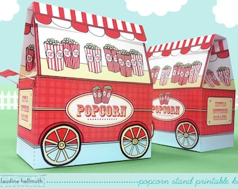 popcorn stand - party favor, candy and treat boxes, gift card holders printable PDF kit - INSTANT download