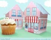 sweet shoppe - cupcake holder, favor box, party centerpiece printable PDF kit - INSTANT download