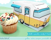 yellow retro camper -  cupcake box holds cookies and treats, gift and favor box, party centerpiece printable PDF kit - INSTANT download