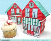 christmas sweet shoppe  -  cupcake box, holiday cookie box, holds favors, gifts and treats printable PDF kit - INSTANT download