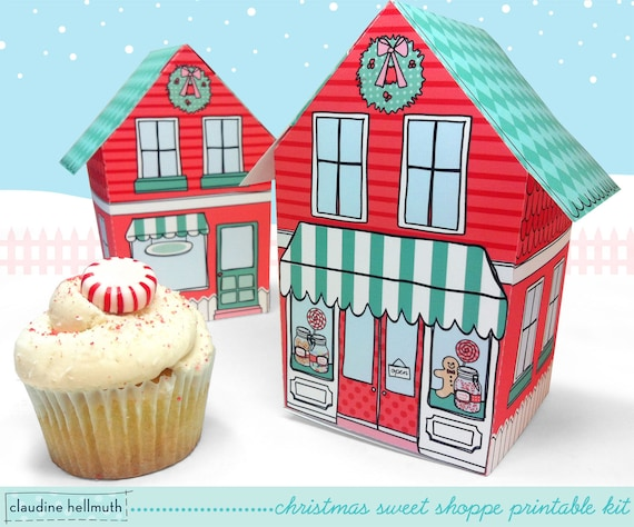 christmas sweet shoppe - cupcake box printable PDF kit - INSTANT download