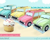 set of 4 woody surf cars - cupcake boxes hold cookies and treats, gift and favor box  printable PDF kit - INSTANT download