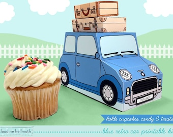 blue retro car -  cupcake box holds cookies and treats, gift and favor box, party centerpiece printable PDF kit - INSTANT download