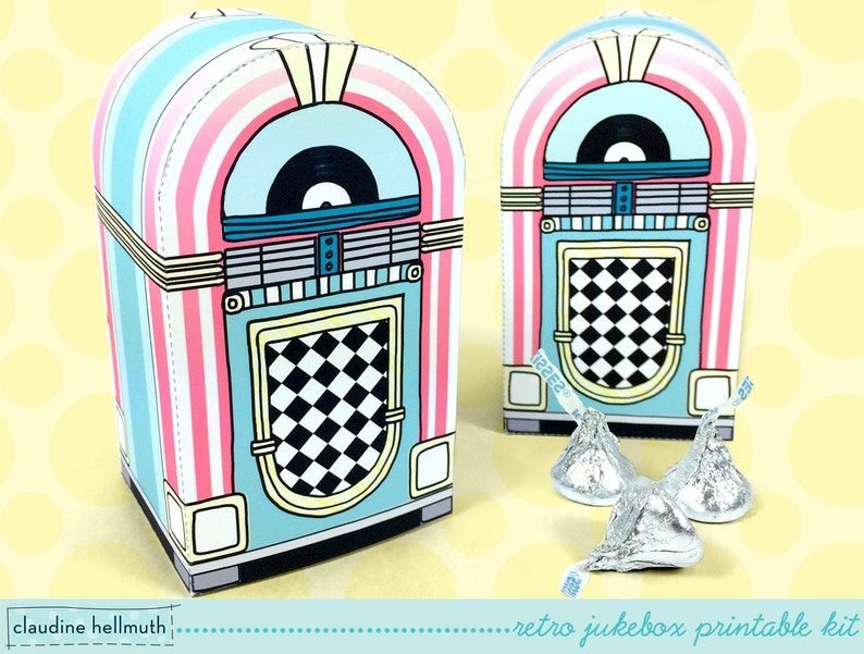 retro jukebox  favor box holds candy gift cards and treats image 0