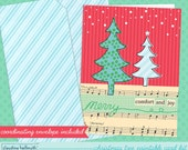 christmas card printable kit -  whimsical christmas trees greeting card printable INSTANT download PDF