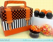halloween cake pop and cupcake box - holds cookies, candy, party treat and favor box, printable PDF kit - INSTANT download