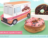 donut truck -  box holds donuts, doughnut holes, mini doughnuts, cupcakes, favors and gifts PDF kit - INSTANT download