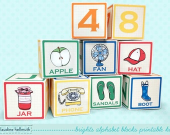 alphabet blocks mini cupcake  favor boxes - teacher appreciation, back to school, baby shower  PDF kit - INSTANT download