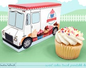 sweet cakes truck -  cupcake box holds standard and mini cupcakes, cookies, candy, favors and gifts PDF kit - INSTANT download