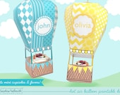 hot air balloon  -  mini cupcake and favor box, holds candy & treats, party centerpiece mobile printable PDF kit - INSTANT download