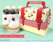 retro cherry cake pop and cupcake box - holds cookies, candy, party treat and favor box, printable PDF kit - INSTANT download
