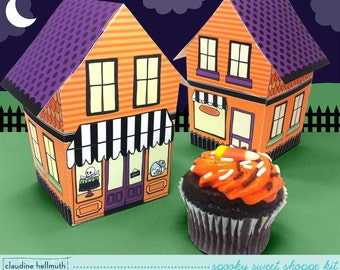 halloween sweet shoppe - cupcake box, candy & favor box, party centerpiece printable PDF kit - INSTANT download