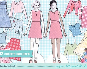 PRE-TEEN GIRL paper doll set - easy for you to customize with your own photos - printable pdf - instant download